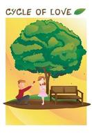 cyclus van liefde ingesteld voor valentijn seizoen, foto van paar liefhebbers onder de boom vector
