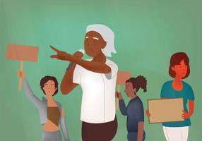 zwarte vrouwen protesteren, confronteren raciale en onrechtvaardigheid, zwarte levens doen ertoe platte kunst vectorillustratie. vector