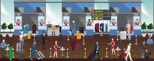 luchthavenpersoneel en passagiers in de incheckzones van de luchthaven, sociale distantiëring voorkomen covid-19, platte illustratie van hoge kwaliteit. vector