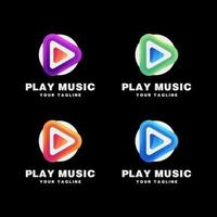 speel muziek logo set vector