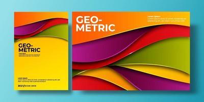 abstracte kleurrijke dekking als achtergrond met gradiëntkleur en schaduw. kan worden gebruikt voor achtergrond, flyer, jaarverslag, boekomslag, identiteit, aanplakbiljet. oranje, paars, rood, groen, geel poster sjabloon vector