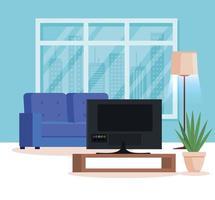 huiskamer met bank en tv vector