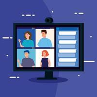 mensen in een videoconferentie via computer