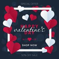 Valentijnsdag hart frame vector