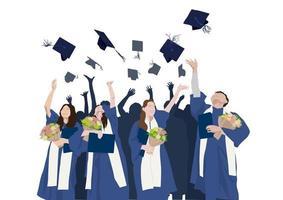 gefeliciteerd afstuderen illustratie grafische vector