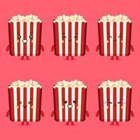 schattige popcorn-personages met verschillende expressiesets vector