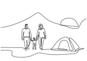 een lijntekening van familiecamping. gelukkige vader, moeder, dochter en zoon die picknick met een tent in openlucht doen. vakantie doorbrengen met kamperen. vakantie in de natuur. minimalistische stijl. vector illustratie
