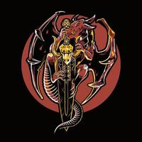 illustratie vectorafbeelding van mythische draak. vliegende draak met een zwaard geïsoleerd op zwarte achtergrond. perfect voor gaming-logo, twitch, streamer, t-shirt, merchandise, etc. vector