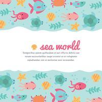 Leuke en kleurrijke zee wereld achtergrond vector