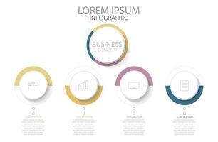 infographic sjabloon in vier stappen, sjabloon voor diagram, grafiek, presentatie en grafiek. vector