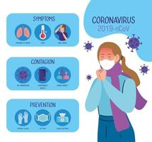 jonge vrouw met covid 19 symptomen infographic