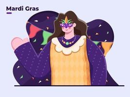 vlakke afbeelding van mardi gras-dagpersoon in masker, mardi gras-carnaval, vieren van mardi gras-dagfestival, mardi gras-feest, dikke dinsdag, vastenavond, pannenkoek-dinsdag, optochten. vector