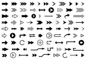 pijlen grote zwarte set pictogrammen. pijl icoon. pijl collectie vector