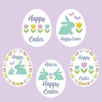 pastel gelukkige paaseieren met tulpen en konijntjes