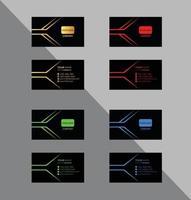 set visitekaartjes in zwart met kleurrijke accenten vector