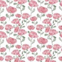 schattig roze bloem aquarel naadloze patroon met blad
