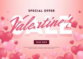 Valentijnsdag verkoop banner ontwerpsjabloon. Valentijnsdag verkoop poster. vector