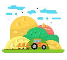 Platte boerderij illustratie