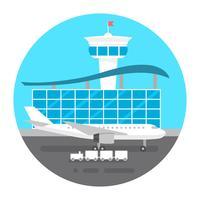 vlakke stijl luchthaven
