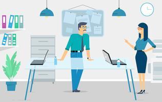 Vector kantoor scène illustratie