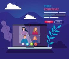 jongeren in een videoconferentie via laptop