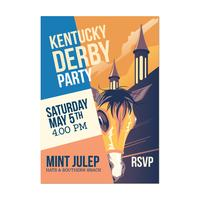 Uitnodiging sjabloon voor paardenrennen partij of Kentucky Derby evenement vector