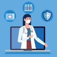 arts op de laptop, online geneeskundeconcept met medische pictogrammen