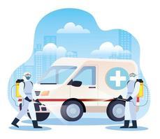 ambulance wordt gedesinfecteerd tijdens coronaviruspandemie vector