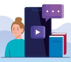online onderwijstechnologie met vrouw en smartphone
