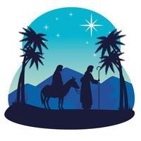 vrolijk kerstfeest en kerststal met mary en joseph vector