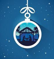 vrolijk kerstfeest en kerststal met maria, joseph en baby jesus ornament vector