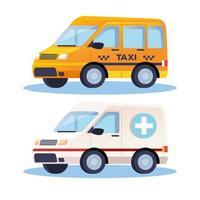ambulance- en taxitransportvoertuigen vector