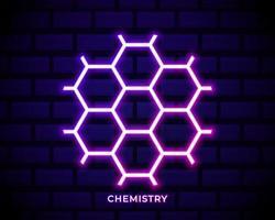 chemie zeshoek neon vector