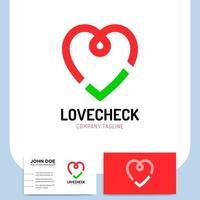 hart selectievakje pictogram en visitekaartje vector