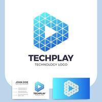 tech play-knop en visitekaartje vector