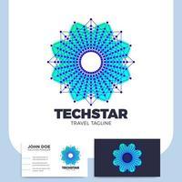tech mandala bloem ster en visitekaartje vector