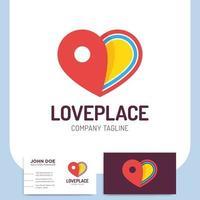 liefdesplaats met hart en pinlocatie en visitekaartje