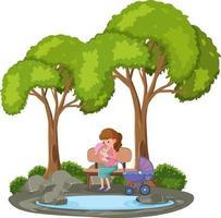 moeder die haar baby in het geïsoleerde park houdt vector