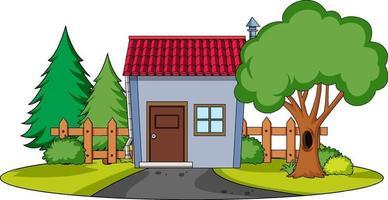 vooraanzicht van een huis met natuurelementen op witte achtergrond