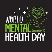 wereld geestelijke gezondheidsdag banner of logo geïsoleerd op een witte achtergrond vector