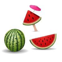 stukjes watermeloen geïsoleerd op een witte achtergrond voor uw creativiteit vector