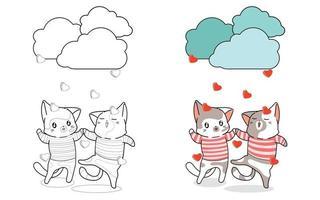 schattig paar katten genieten van regen van liefde cartoon kleurplaat