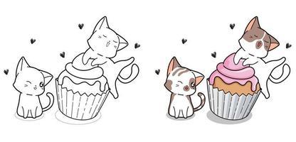 schattige katten en cupcake cartoon kleurplaat