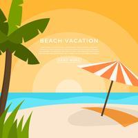 Flat Beach vakantie vectorillustratie vector
