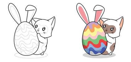 schattige kat en konijn ei voor paasdag cartoon kleurplaat voor kinderen