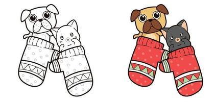 hond en kat in handschoenen cartoon kleurplaat vector