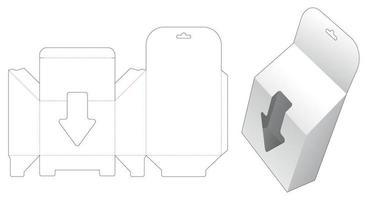 hangende afgeschuinde verpakking met pijlvormig venster gestanst sjabloon
