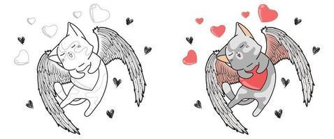 Cupido kat knuffelt het hart in Valentijnsdag cartoon kleurplaat voor kinderen vector