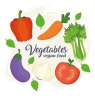banner met verse en gezonde groenten voor veganistisch voedselconcept vector