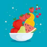 vers en gezond voedselconcept met kom en fruit vector